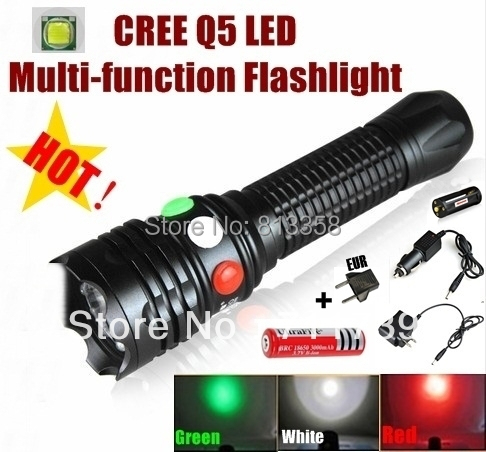 CREE Q5 LED Signal light green White Red LED Flashlight Torch Bright light signal lamp + 1 x 18650 Battery / Charger ultrafire sk68 80 150lm 3 mode white light zooming flashlight xr e q5 led lamp pocket torch 1 x 14500 battery charger