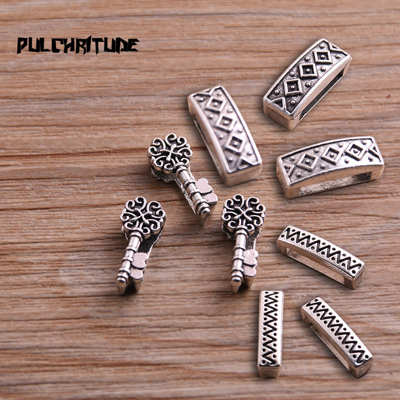 PULCHRITUDE 20Pcs Silver Slider Spacer 3 Style Beads Carved Flower Hole 10*2.5mm Leather DIY Bracelet Making Accessorie P6753