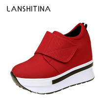 2019 Women Wedges Casual Shoes Zipper Height Increased Sneakers Breathable Red Women Spring Walking Flats Trainers Canvas Shoes women s casual shoes 2019 foreign gas spring and summer breathable mesh red wild wedges with increased shoes