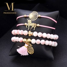 4Pcs/set Pineapple Unicorn Turtle Shell Charm Bracelet Set For Women Bead Chain Rope Bracelets Ladies Jewelry Gift(China)