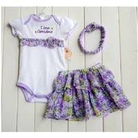 2014 Retail Floral Baby 3pcs Suit Bodysuit Lace Headband Baby Girls TUTU Dresses Hairband Hot Sale