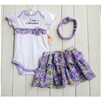 2014 Retail Floral Baby 3pcs Suit Bodysuit Lace Headband Baby Girls TUTU Dresses Hairband Hot Sale