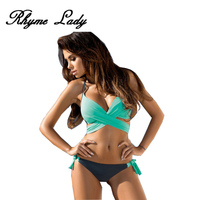 Rhyme Lady Sexy Bikini Set Women Swimsuits Cross Push Up Top Swimwear Tong Bikini Bathing Suit