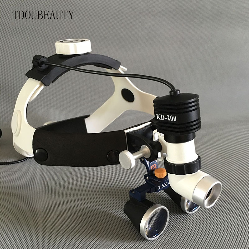 TDOUBEAUTY Portable Dental Binocular Loupes 3.5X 420mm + One-way Moveable LED surgical Headlight/ENT head lamp Free Shipping tdoubeauty dental greeloy silent oil free air compressor ga 62 free shipping