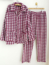 Quality flannel Men lounge purple pattern thickening thermal sleep set