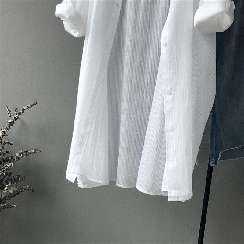Coton décontracté blanc Long Blouse femmes 2019 d'été femmes à manches longues blanc chemises Blouse de haute qualité lâche Blouse hauts - 6