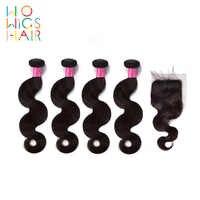 WoWigs Haar Birmanischen Haar Remy Haar Körper Welle 4/3 Bundles Deal Mit Top Spitze Schließung Natürliche Farbe 1B