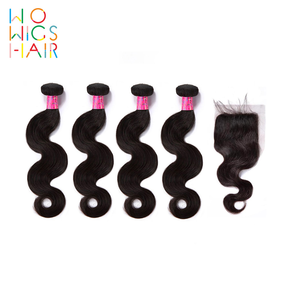 3 Bundles Deal With Top Lace Closure Natural Color 1b Dutiful Wowigs Hair Burmese Hair Remy Hair Body Wave 4 3/4 Bundles With Closure