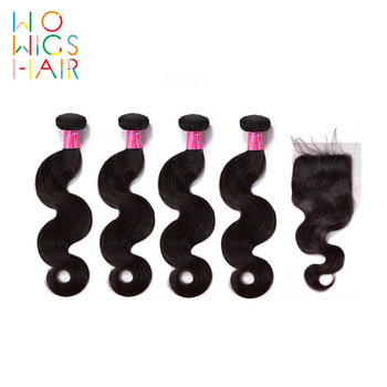 WoWigs Hair Burmese Remy Body Wave 4 / 3 Bundles Deal With Top Lace Closure  Natural Color 1B