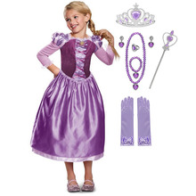 Girls Tangled Rapunzel Costume for 3/4 Sleeve Fairy Tale Kids Cosplay Dress Birthday Party Fancy Carnival Clothes