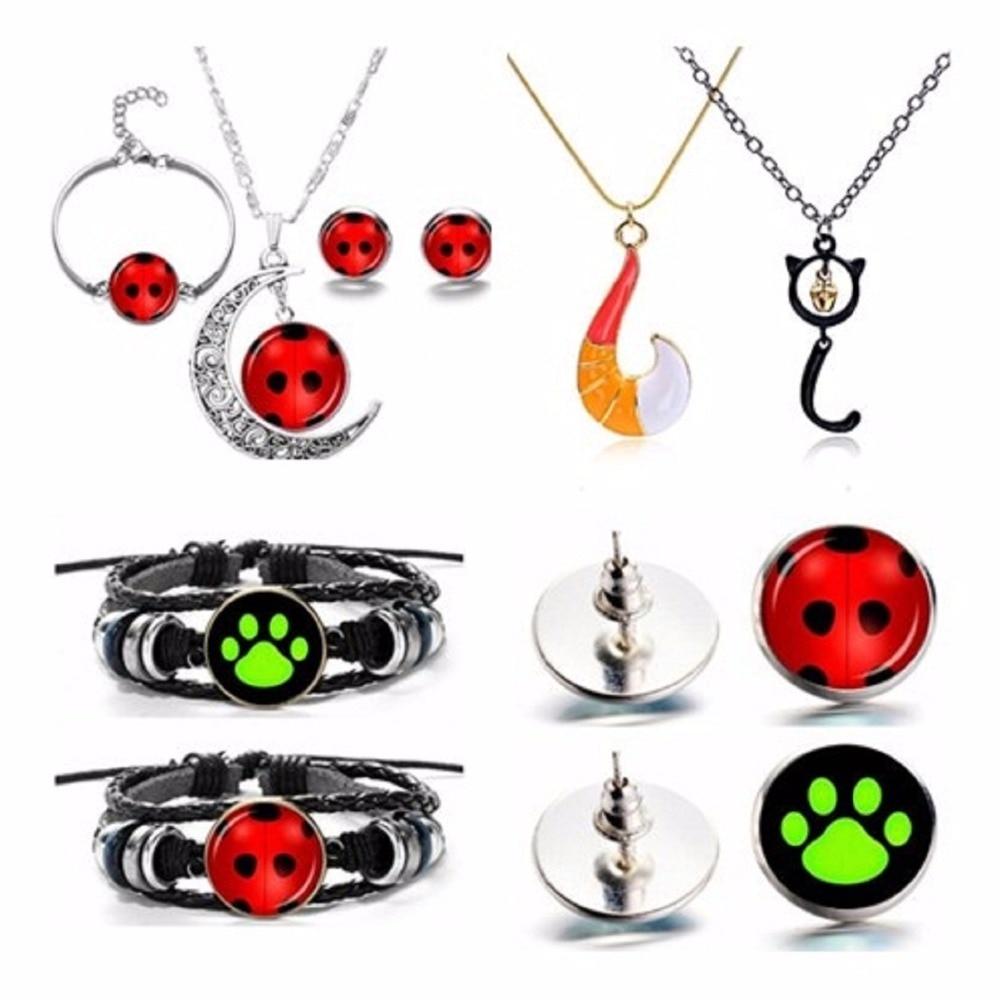 Ladybug Necklace Keychain Stud Earrings Adrien Marinette Figure Toys Pendant Lady Bug Cat Noir Juguetes Oyuncak Toys Toys & Hobbies