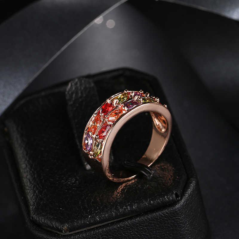 Emmaya แฟชั่น New Monalisa Rose Gold สีที่มีสีสัน AAA Zircon แหวนคริสตัลเครื่องประดับสำหรับ Gift Party