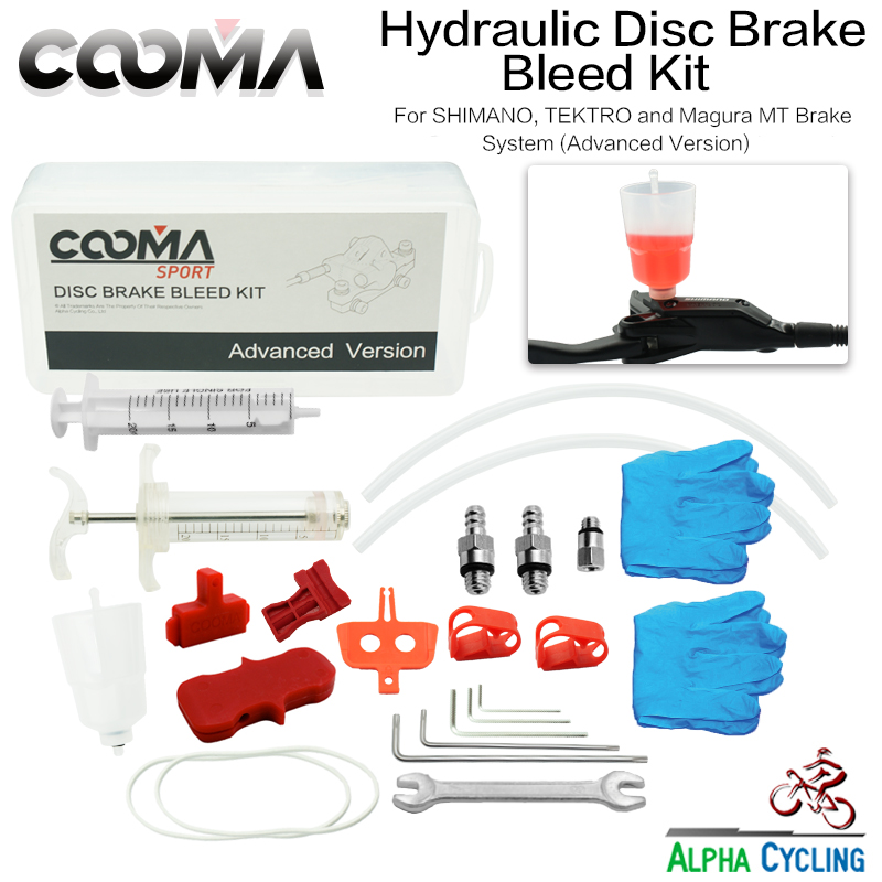 COOMA's Hydraulic Brake BLEED KIT for SHIMANO, also for Tektro and Magura Hydraulic Brake, Version 3.0 Mineral Oil Tool Kit bicycle hydraulic brake bleed tool kit for shimano tektro margura and series disc brake system use mineral oil brake sw0018