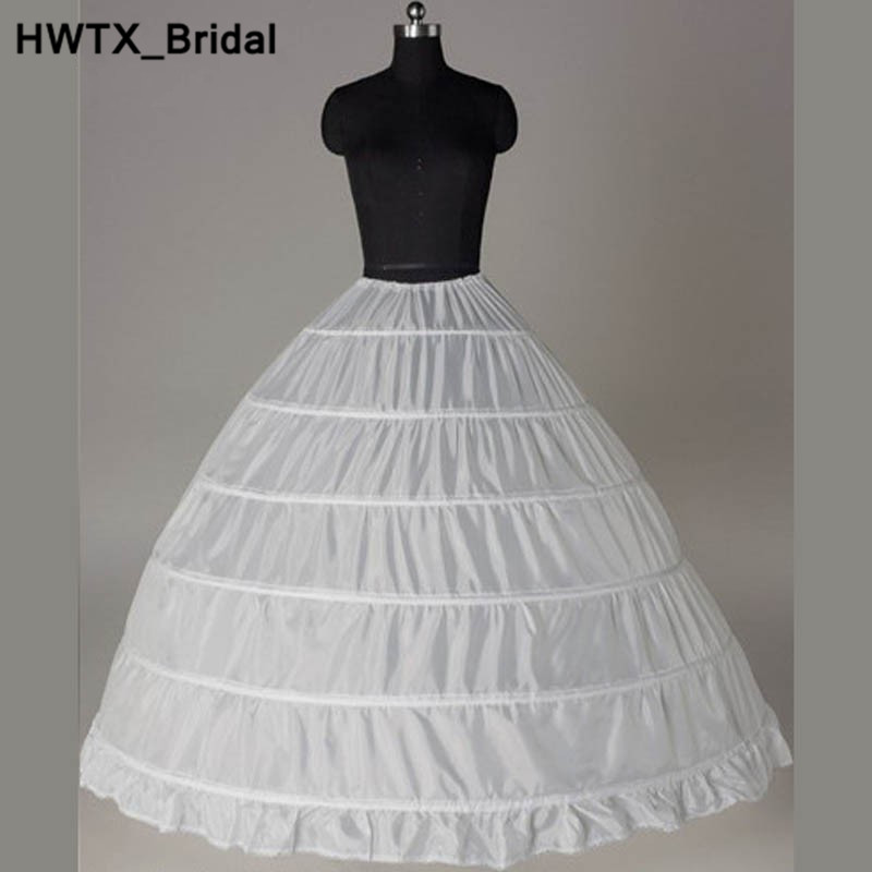 Long Puffy Ball Gown 6 Hoops Petticoats 2018 Tiered Ruffles Skirt Underskirts Petticoat For Party Wedding Quinceanera Dresses
