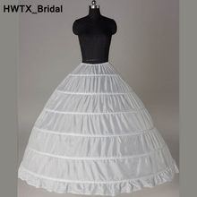 Lange Puffy Baljurk 6 Hoops Petticoats 2018 Tiered Ruches Rok Onderrokken Petticoat Voor Party Bruiloft Quinceanera Jurken(China)