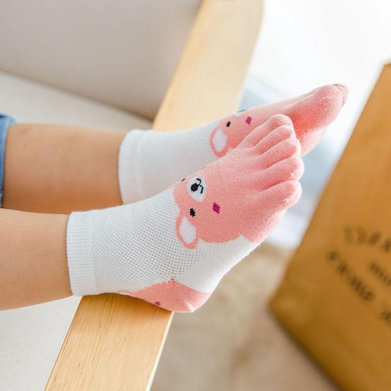 New Design Cute Cartoon Bear Five Toes Socks Kids Socks Girl Boy Children Hosiery Five Fingers Socks Mesh Breathable Foot Socks 2