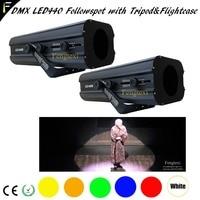 2 единицы/лот Театр пятно прожектор следящего света светодио дный лампы 440 Вт 0 100% диммер 3200 К 5600 К 6500 К сопровождающий прожектор с кейс и штат