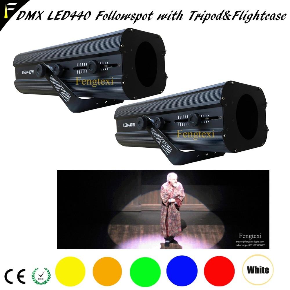 2Unit/LOT Theater Spot Follow Light LED Bulb 440w 0-100% Dimmer 3200k 5600k 6500k Follow Spot Light With Flight Case and Tripod цены