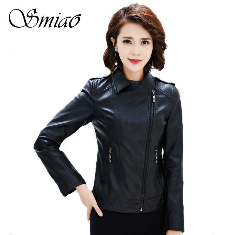 Women   Leather   Jackets 2019 Spring Autumn Brand Soft Faux   Leather   Jacket Turn-Down Collar Short Ladies   Leather   Coat Plus Size 4XL