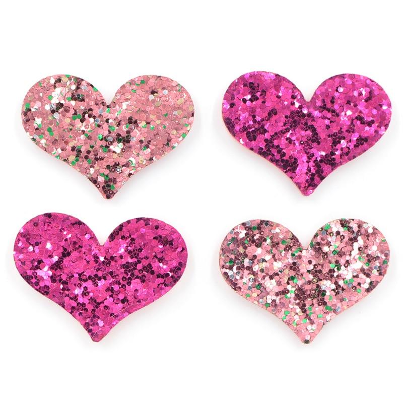 20pcs Glitter Felt backed Star Flower or Heart Appliques Craft Child decor 20mm