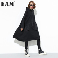 EAM 2018 New Spring Hooded Long Sleeve Solid Color Black Two Pockets Loose Big Size