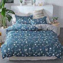 Juego de ropa de cama de cuatro piezas Funda de almohada de tamaño completo de flor cama de Reina con funda de almohada