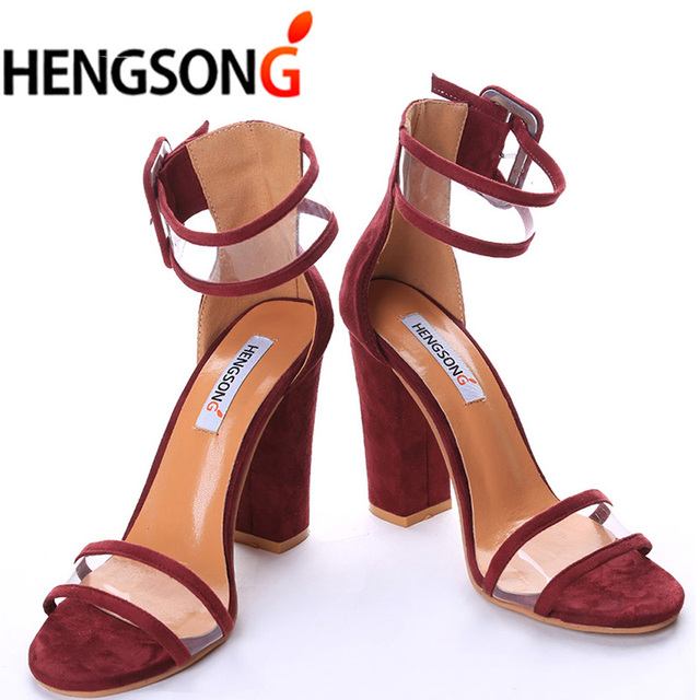 2017 Newest Women Sandals Thick High Heels Shoes Sexy Transparent ...