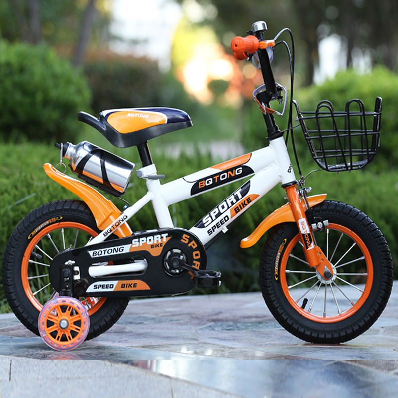 Children Bicycle 16-inch Front V Brake Rear Drum Brake Kid's Bike With Protective Wheels Steel Fork Bike Cycling children s bicycle kids balance bike ride on toys for kids four wheels child bicycle carbon steel bike for children 1 2 years