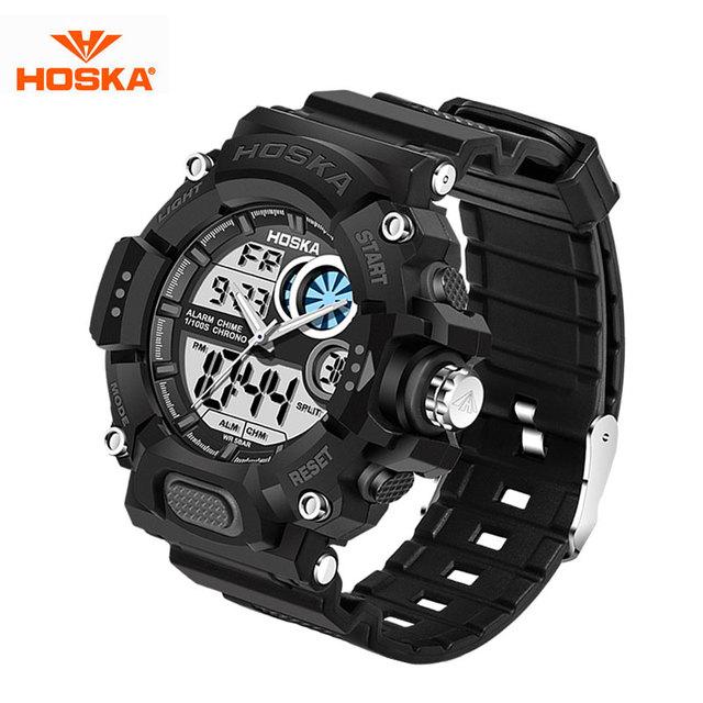 HOSKA Niños Reloj de La Manera LED Relojes Militares Deporte Choque hombres Reloj de Cuarzo Analógico Digital Reloj del relogio masculino Reloj
