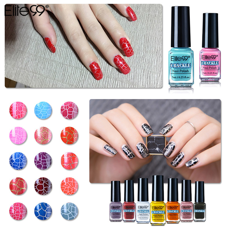 Elite99 38 Colorful Lucky Gel Nails Polish Pigment Crack UV Nail Lacquer  Professional Cracking Nail Varnish Crackle Shatter