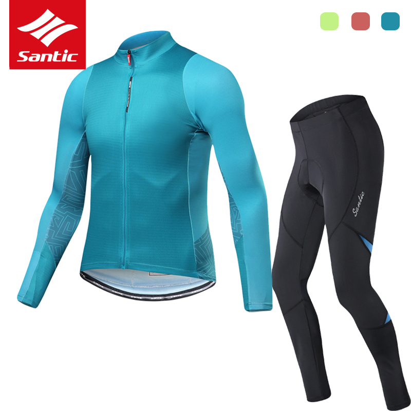 Santic Pro Team Cycling Jersey Set Long Sleeve Spring Autumn Bike Bicycle Jersey Men Racing Cycling Clothing Set Ropa Ciclismo santic autumn winter women winter cycling set bicycle jacket padded pants pro team cycling clothing mtb bike long jersey set