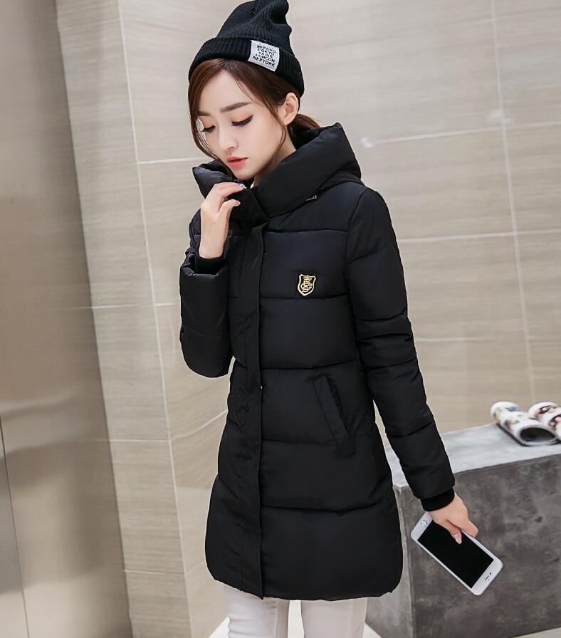 ФОТО 2016 Women's Winter  New Medium-Long Down Cotton Parka Plus Size Coat Slim Ladies Casual Clothing Hot Sale