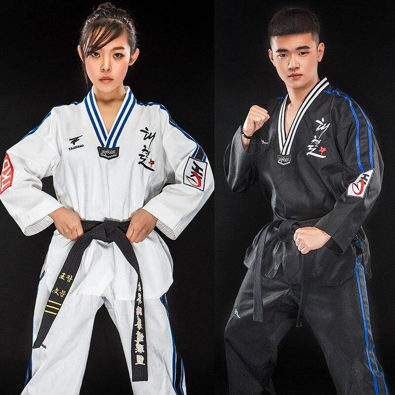 Martial Arts TKD Tae Kwon Do V-neck Adult & Children Taekwondo Clothes For Poomsae & Training,WTF Uniform,160-190cm Black/white