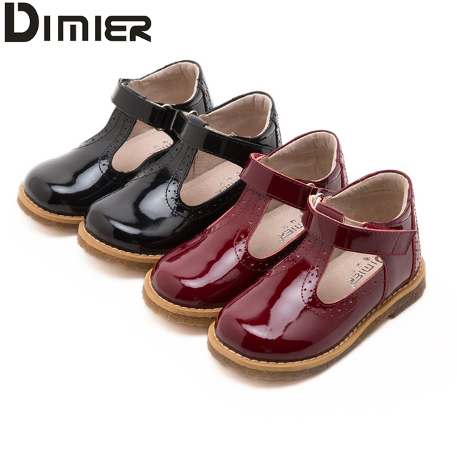 Girls Leather Shoes Brand 2016 Retro Toddler  Red Black patent leather Princess Party Hollow Out Flower Children Girl Shoes