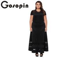 Gosopin Summer Plus Size Maxi Dress Short Sleeve Black Sexy Long Office Ladies Dress O Neck
