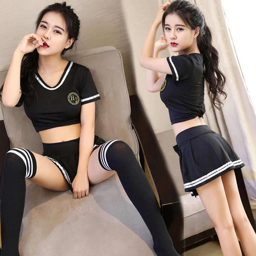 Japanse Stijl Vrouwen School Uniform Cheerleader Kleding Set Sexy Meisjes Dirndl Babydoll Cosplay Kostuums Tops + Rok Erotische Pak