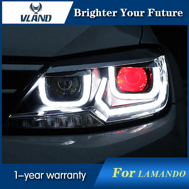 For VW Volkswagen Lamando Headlights 2014-2017 Lamando LED Head Lamp DRL Lens H7 HID led headlights for vw volkswagen golf 6 mk6 2010 2014 uu type drl led headlights demon eyes