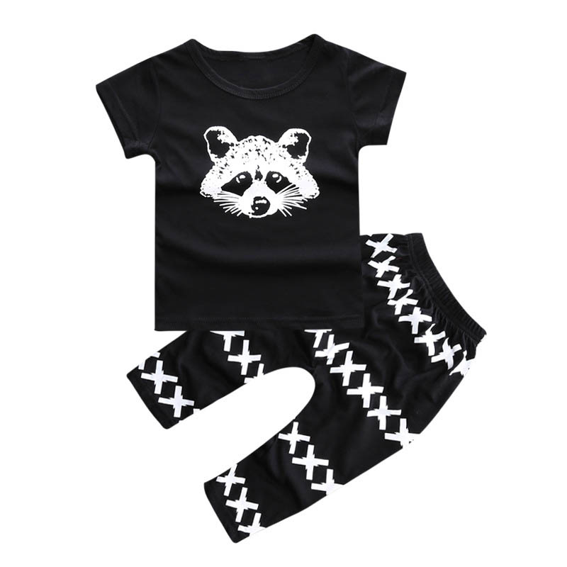 Summer Baby Boy Clothing Set Fox Printed T-shirt+Cross Pant 2pcs/set Outfits Cartoon Infant Boy Clothes Black Vetement Enfant 2pcs set baby clothes set boy
