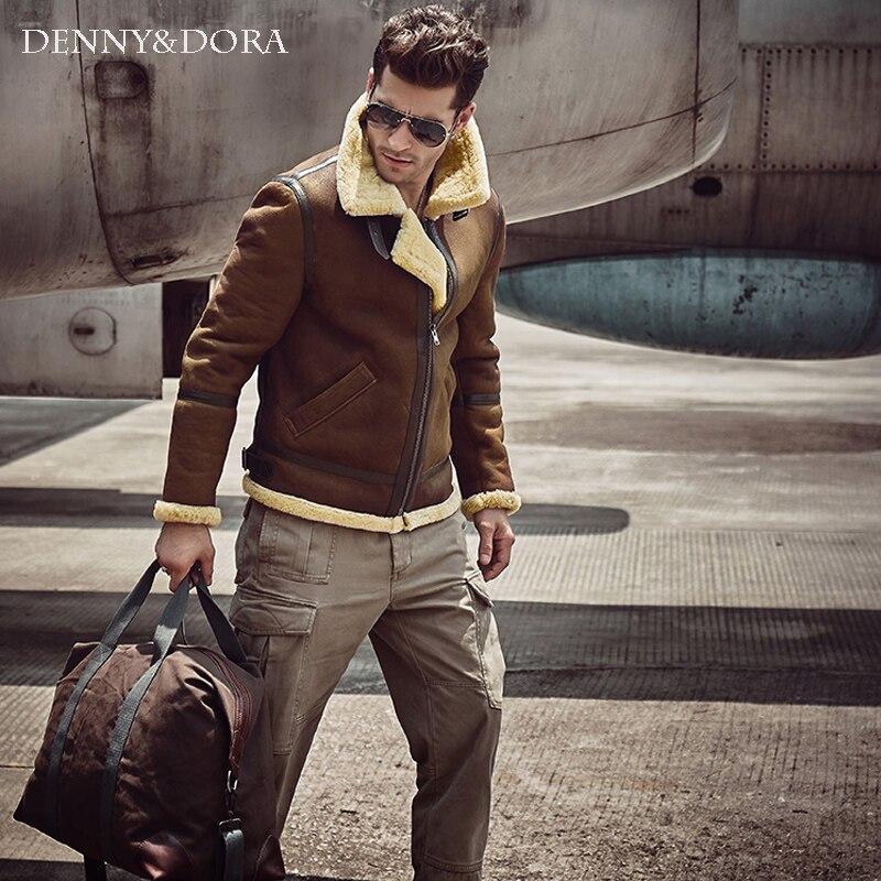 2018 nueva moda para hombres chaqueta de cuero de esquilar marrón oscuro B3 chaqueta Original de vuelo chaqueta de piel de aviación