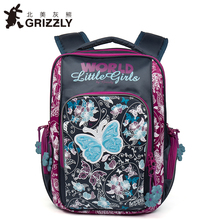 GRIZZLY 2017 NEW Russia Kids Backpack Cute Cartoon School Bags Orthopedic Waterproof Children Primary for Girls Grade 1-4
