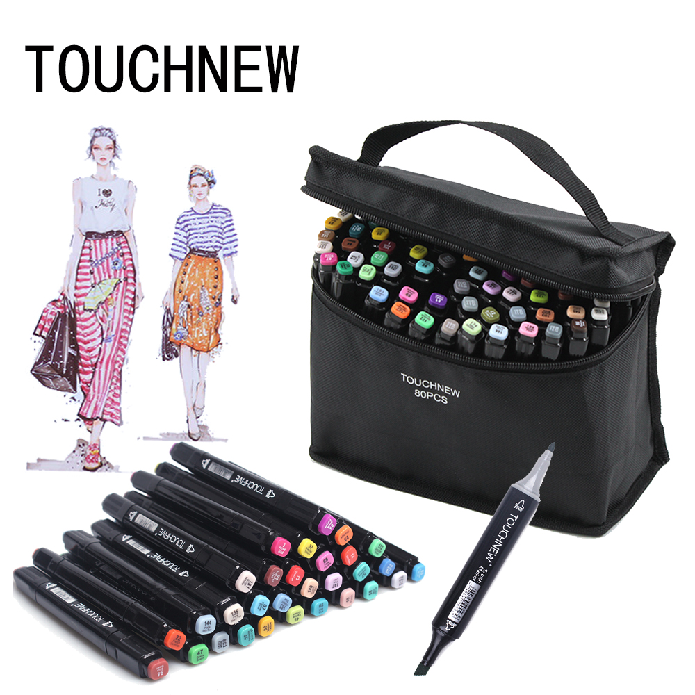 TOUCHNEW 30/40/60/80/168 Colours Art Marker Set Alcohol Based Sketch Marker Pens For Drawing Manga Design Artist Supplies цена