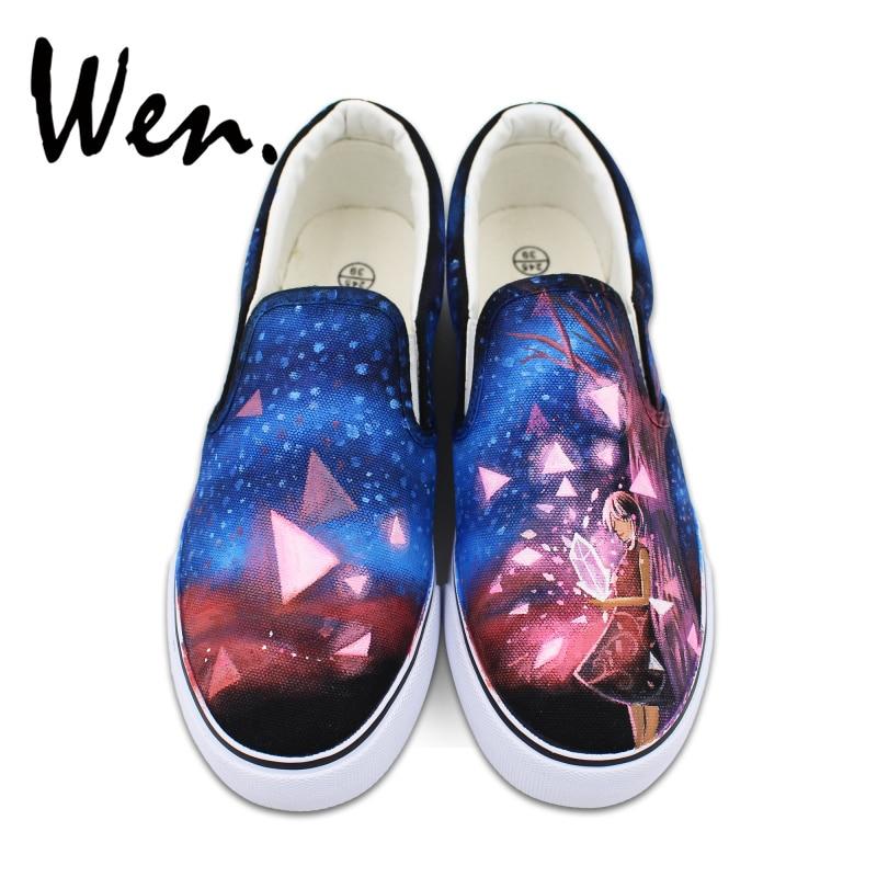 Prix pour Wen Personnalisé Peint À La Main Toile Chaussures Bleu ciel Étoiles Diamant Fille Conception Slip sur Sneakers pour Homme Femme