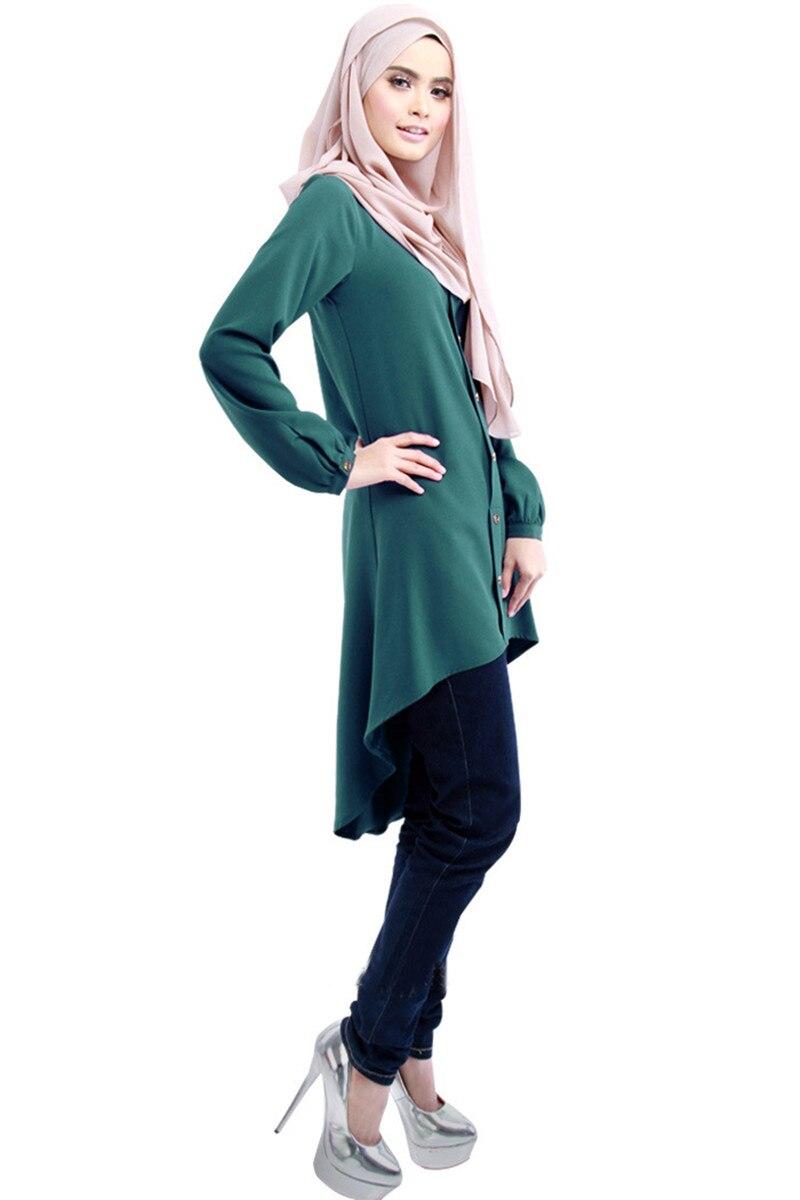 Geöffneten Knopf lange shirts muslimische frauen arabisch blusen Chiffon Tops islamischen bluse moslemische kleidung frauen muslimischen hemd B7903