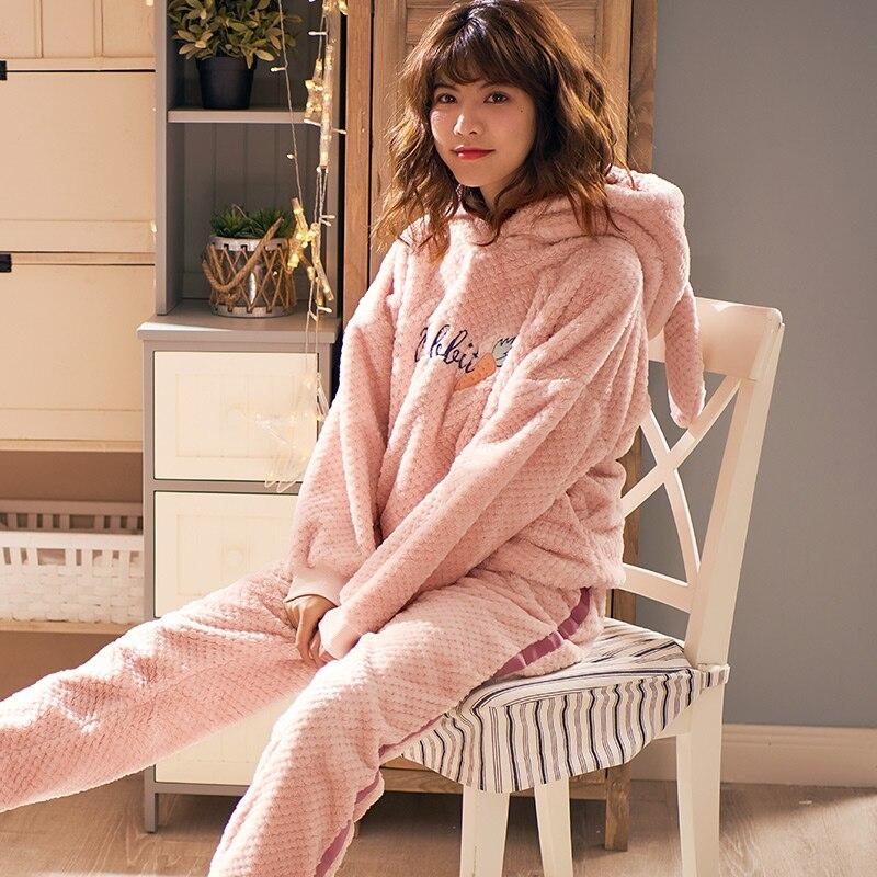 Pyjamas Housewear Flannel Lightcap Warm Winter Sweet And Autumn Coral-Fleece Thickening