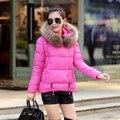 Abajo chaqueta con capucha de algodón, mujeres elegantes invierno yardas grandes flojas de cuello de pelo pesado de manga larga abrigo Super cálida G1786