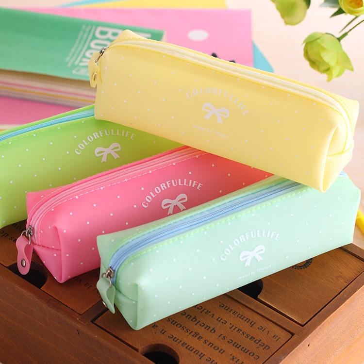 JDANCEC estilo fresco Color caramelo caballo de cuero PU caja de lápiz papelería almacenamiento artículos para la mochila del colegio