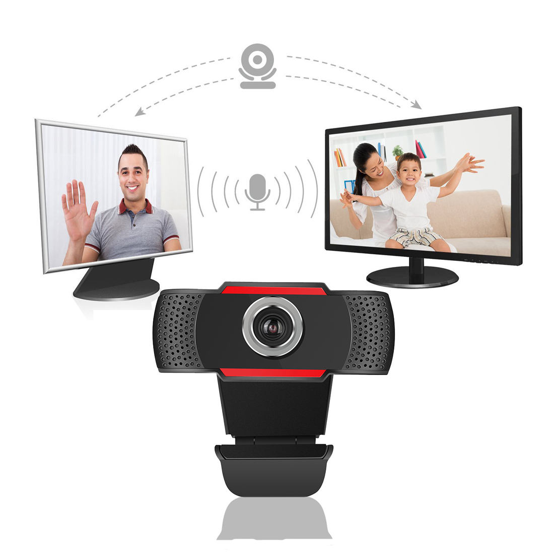 USB <font><b>Web</b></font> Cam Webcam HD 300 Megapixel PC Camera with Absorption Microphone MIC for Skype for Android TV Rotatable Computer Camera
