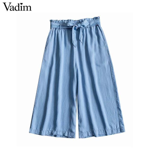 Vadim נשים אופנתי מוצק רחב רגל ג 'ינס כיסי שרוך קשת עניבת עגל אורך מכנסיים רטרו כחול שיק pantalones KA990