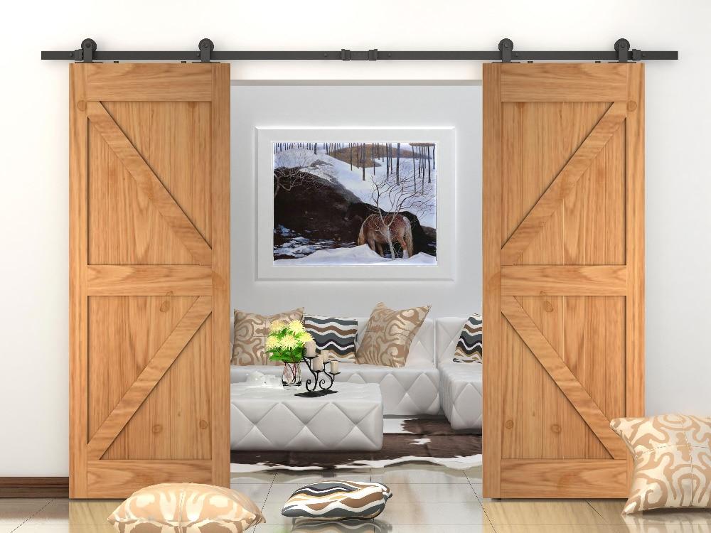 DIYHD 366cm/400cm Double sliding barn door top mounted hardware heavy duty barn door sliding track дырокол deli heavy duty e0130