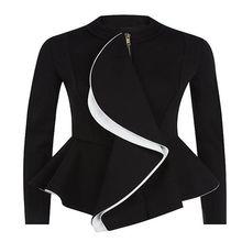 Brieuces Women Ruffles Coat Autumn Peplum Short Slim Outerwear Gothic Black Zipper Jacket Fashion Coats Goth Suit